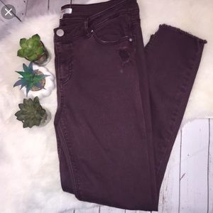 Love Fire Purple Skinny Distressed Ankle Jeans